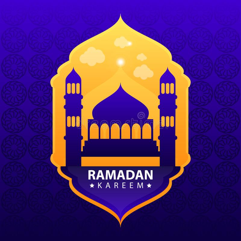 Ramadan kareem op blauwe abstracte achtergrond vector illustratie