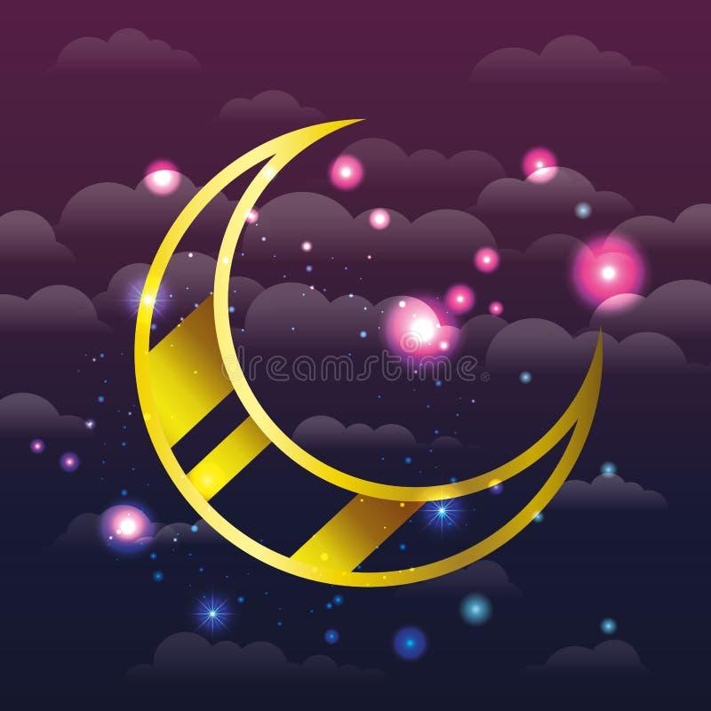 Ramadan kareem pejzaż miejski z złotym księżyc obwieszeniem royalty ilustracja