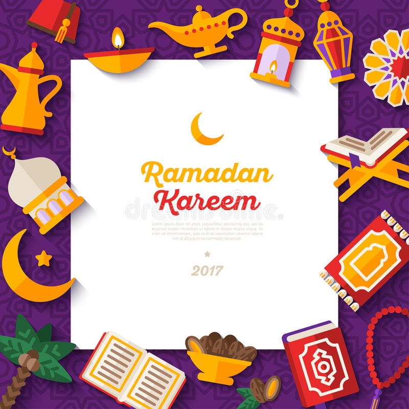 Ramadan Kareem pojęcia sztandar na fiołku ilustracji