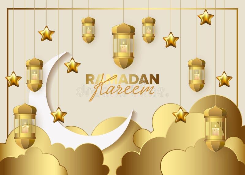 Ramadan Kareem pojęcia sztandaru wektoru wakacyjna ilustracja royalty ilustracja