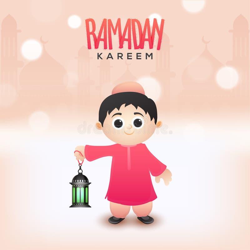 Ramadan Kareem pojęcie z religijnym Muzułmańskim dzieciaka mienia illumin royalty ilustracja