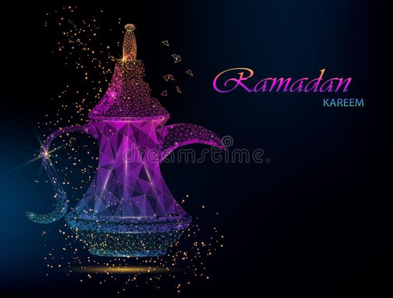 Ramadan Kareem. Polygonal Arabic coffee stock illustration