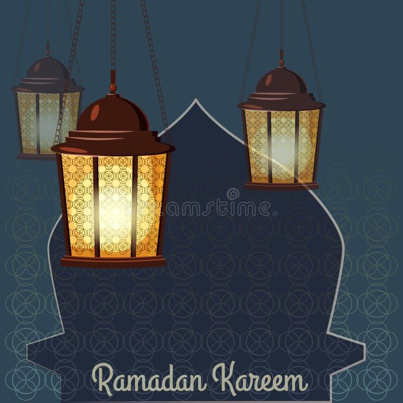 Ramadan Kareem powita? W zawi?y spos?b Arabskie lampy, wektorowa ilustracja ilustracja wektor