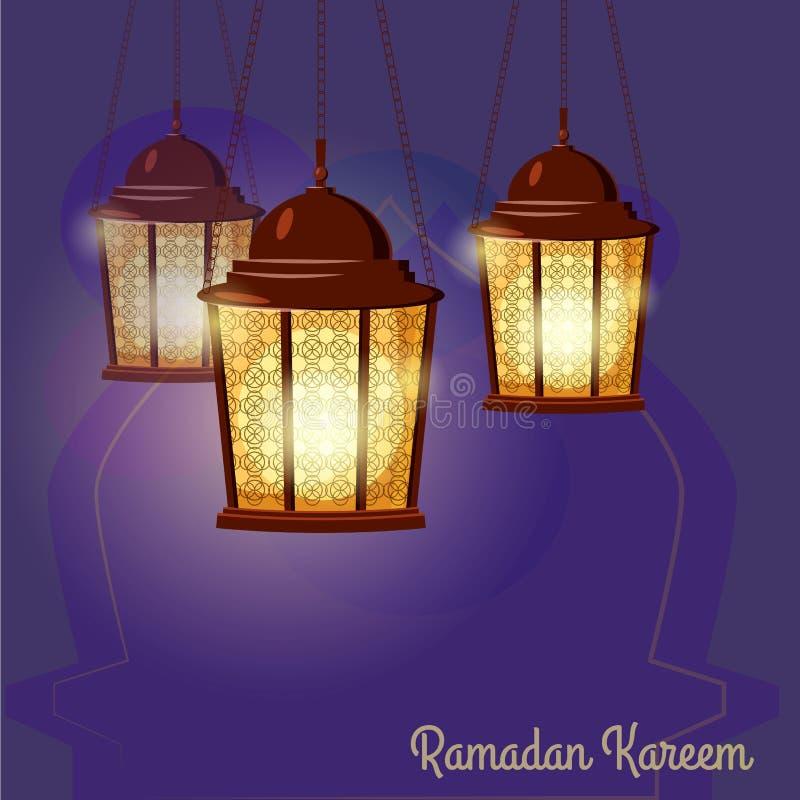 Ramadan Kareem powita? W zawi?y spos?b Arabskie lampy, wektorowa ilustracja ilustracji