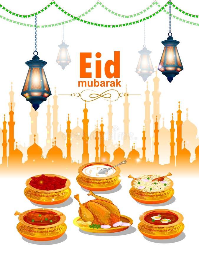 Ramadan Kareem powitania dla Ramadan tła z Iftar napojem i jedzeniem ilustracji