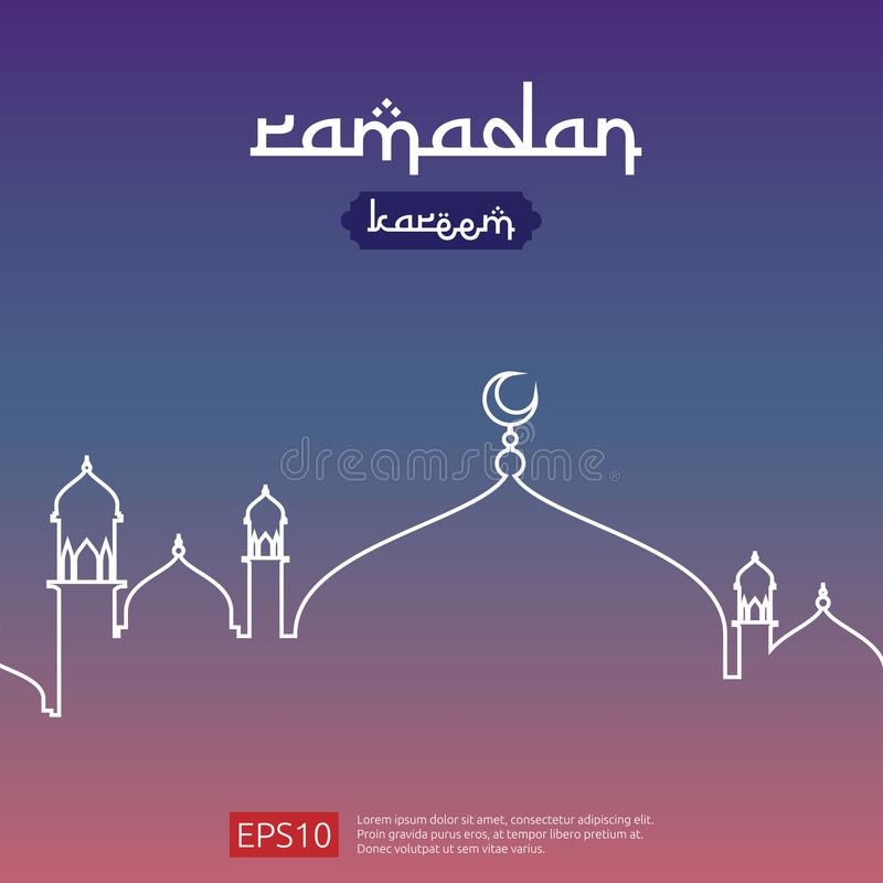 Ramadan Kareem powitania islamski projekt z kopuła meczetowym elementem w mieszkanie stylu tło wektoru ilustracja ilustracji