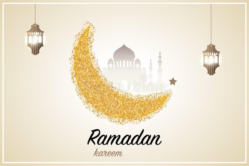 Ramadan kareem powitania szablonu języka arabskiego i półksiężyc islamski lampion r?wnie? zwr?ci? corel ilustracji wektora royalty ilustracja