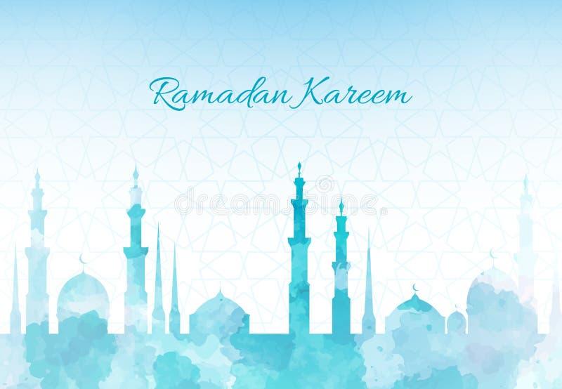 Ramadan Kareem powitania tła akwareli meczetowa ilustracja z arabskim miasteczkiem ilustracja wektor