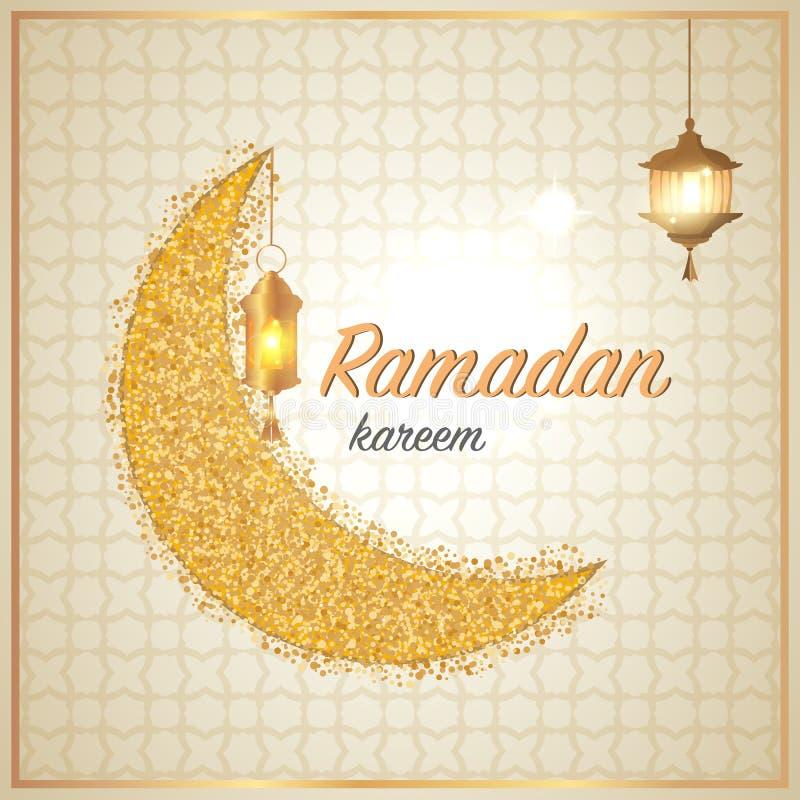 Ramadan Kareem powitania z księżyc Muzułmańskiej religii miesiąca Ramadan świętowania święta kartka z pozdrowieniami Eid Mubarak  ilustracji