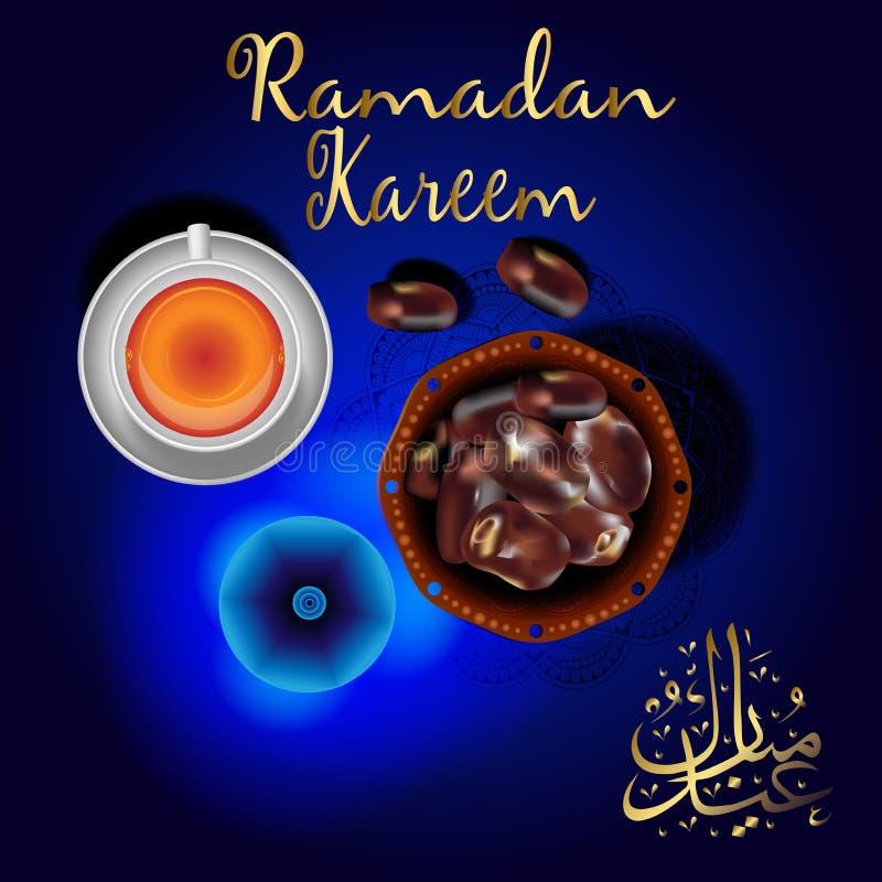 Ramadan Kareem with premium dates and a cup of tea. Arabic design background. Handwritten greeting card. Vector illustration stock illustration