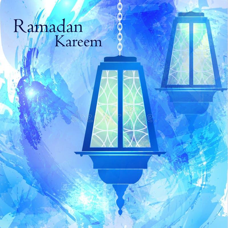 Ramadan Kareem Priorità bassa blu dell'acquerello fotografie stock libere da diritti