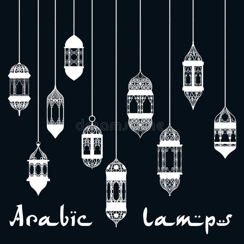 Ramadan Kareem projekta arabski latarniowy szablon royalty ilustracja