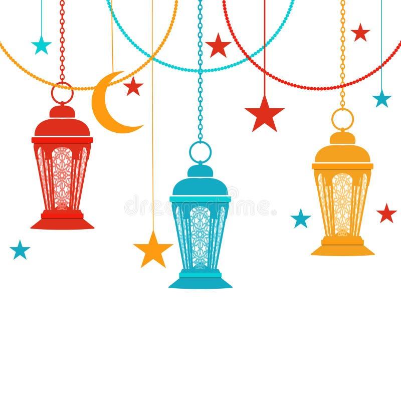 Ramadan Kareem. Raznatsvetnye lights in the oriental style. Asterisks, a crescent. Isolated on white background royalty free illustration