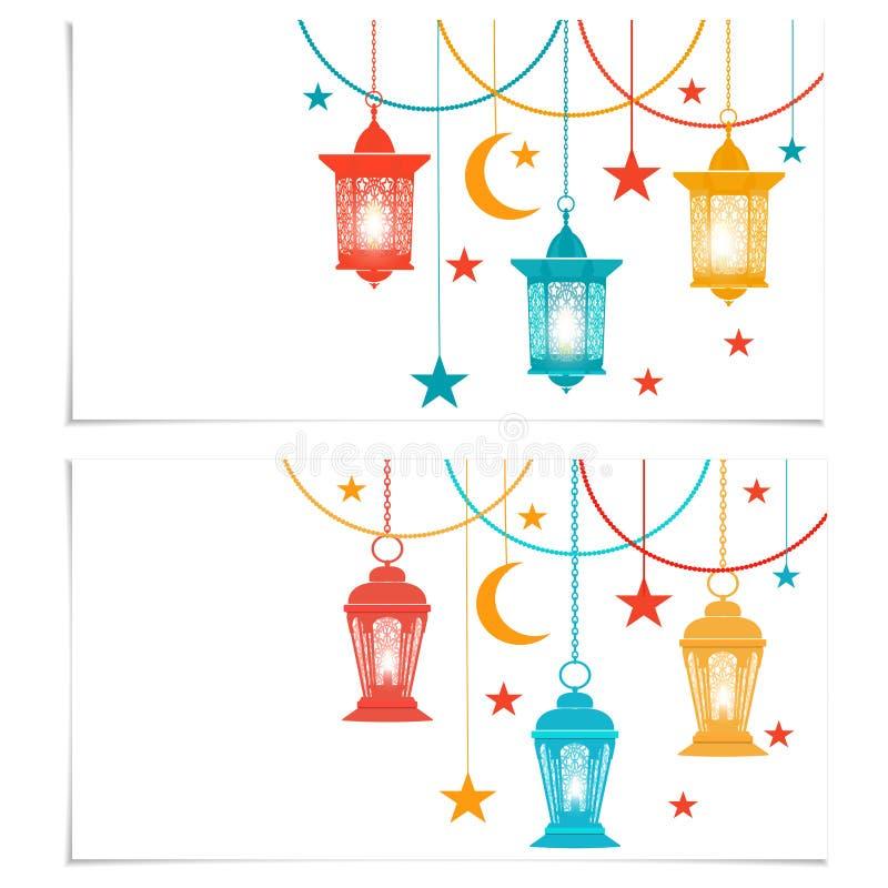ramadan kareem Reklamblad, affärskort eller inbjudankort Kulöra lyktor i orientalisk stil Isolerat på vit stock illustrationer