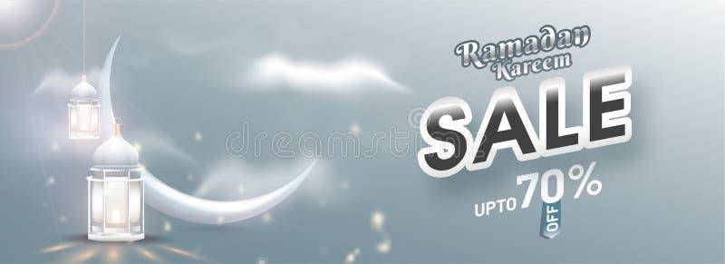 Ramadan Kareem Sale titelrad- eller banerdesign med 70% rabatterbjudande, den växande månen och den upplysta lyktan på molnigt so stock illustrationer