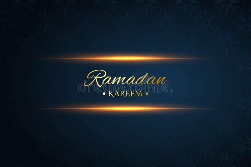 Ramadan-kareem Schwarzes und dunkelblauer Hintergrund, Lichtstrahl, Vektor stock abbildung