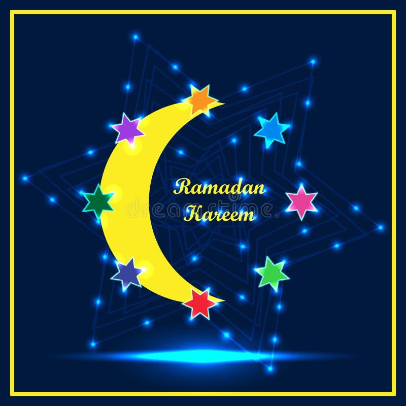 Ramadan Kareem seis estrellas alrededor del marco RGB ilustración del vector