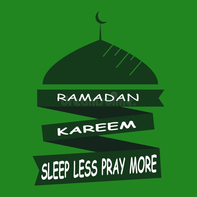 Ramadan Kareem sen Mniej Modli się Więcej islamska projekta meczetu kopuła ilustracja wektor