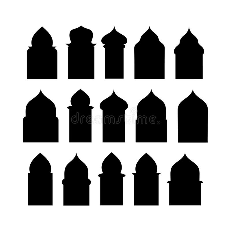 Ramadan kareem shapes of windows and gates. Vector set of arabic doors silhouette. Vector sign traditional islamic arches. stock illustration