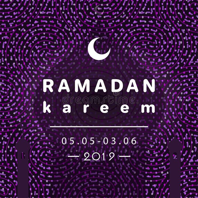 Ramadan-kareem sichelförmiger Mond und Moscheenhaube mit Schatten stock abbildung