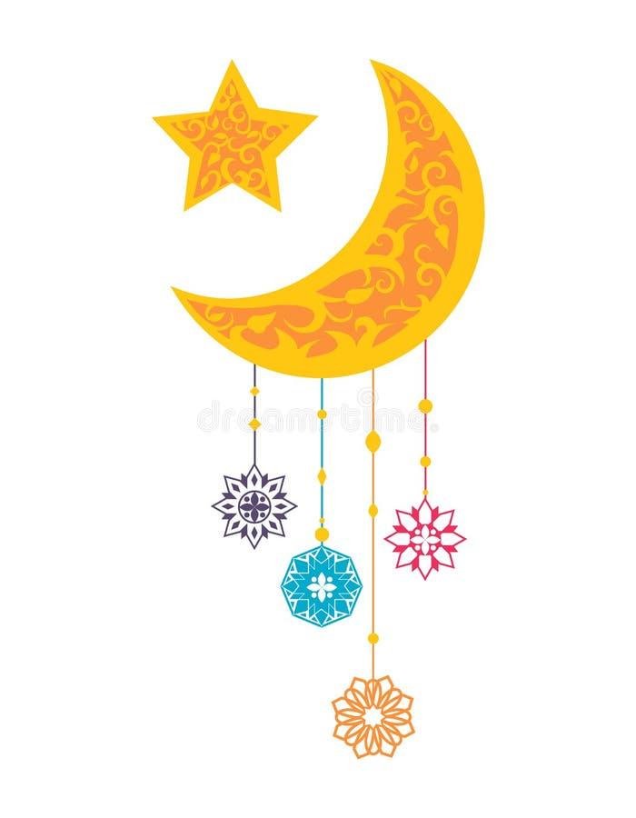 Ramadan Kareem Sightings de Crescent Moon Star ilustração royalty free