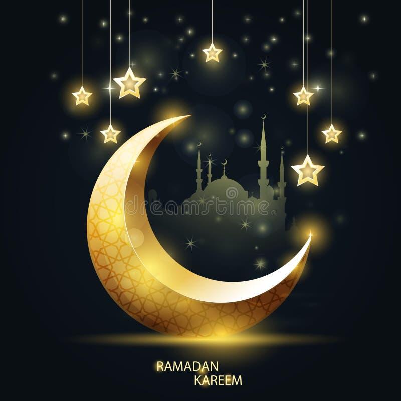 Ramadan Kareem - silhueta islâmica do crescente e da mesquita ilustração do vetor