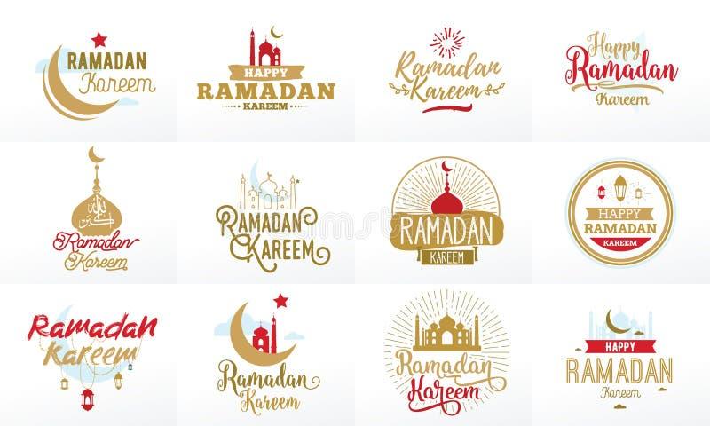 Ramadan Kareem Sistema tipográfico del diseño del vector libre illustration