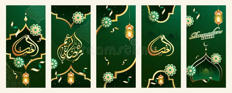 Ramadan Kareem-sjabloonset met het hangen van verlichte lantaarns, mandalaontwerp en moskee op groen Islamitisch naadloos patroon stock illustratie