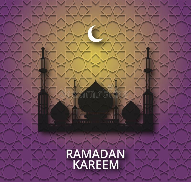Ramadan Kareem skinande bakgrund med moskékonturn vektor illustrationer