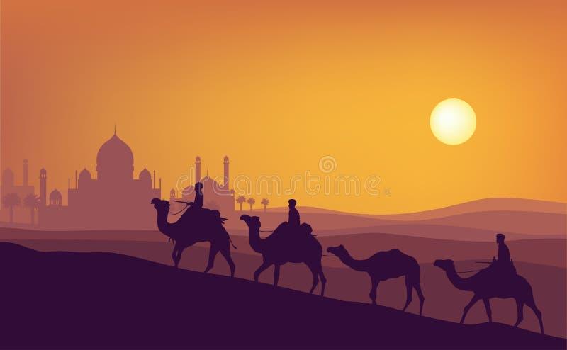 Ramadan-kareem Sonnenuntergangillustration Ein Mannfahrkamelschattenbild mit Sonnenuntergangmoschee stock abbildung