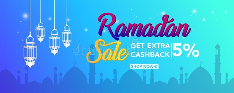Ramadan Kareem sprzedaży oferty sztandaru projekt z ornament księżyc latarniowym tłem dla promocyjnego plakata, rabat, prezent, a royalty ilustracja