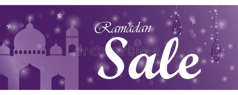 Ramadan kareem sprzedaży sztandar horyzontalny z meczetem i lampionami royalty ilustracja