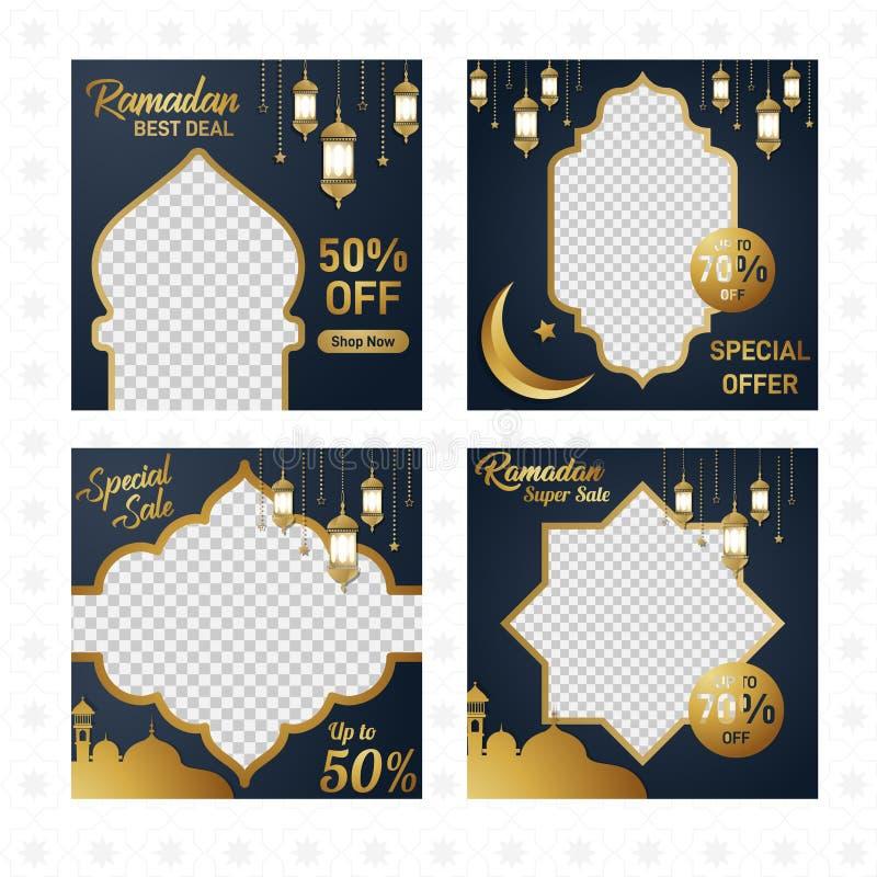 Ramadan Kareem sprzedaży dużego rabata luksusowy złocisty wyłączny tło ilustracja wektor
