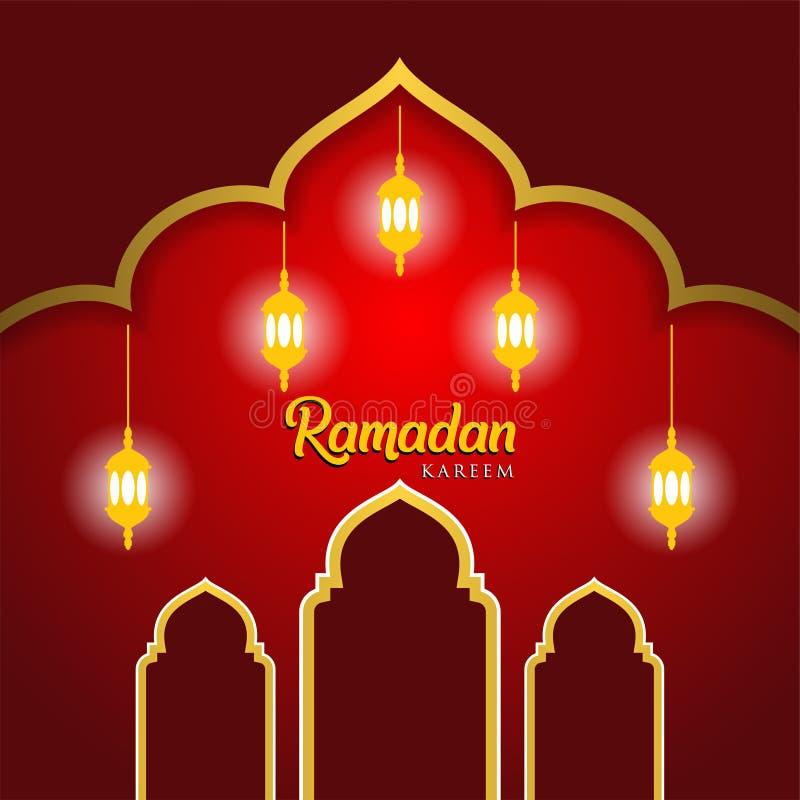 Ramadan kareem tło, ilustracja z arabskimi lampionami i meczetowa kopuła na czerwonym tle, EPS 10 zawiera przezroczystość - ve royalty ilustracja
