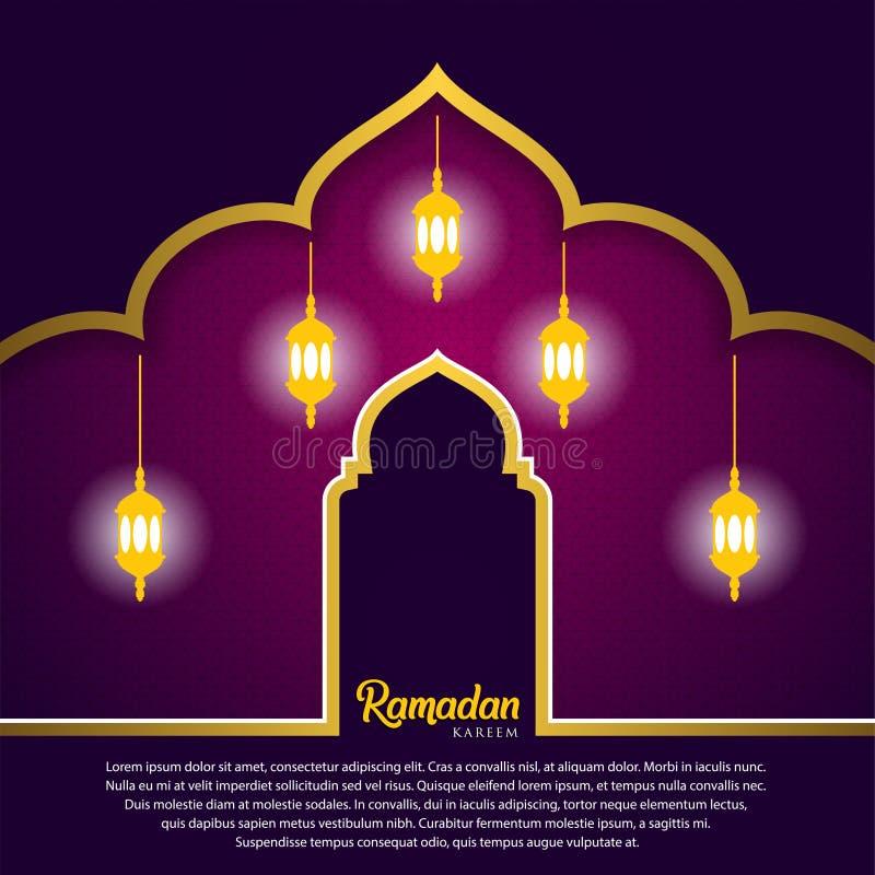 Ramadan kareem tło, ilustracja z arabskimi lampionami i meczetowa kopuła na purpurowym tle, EPS 10 zawiera przezroczystość - ilustracji