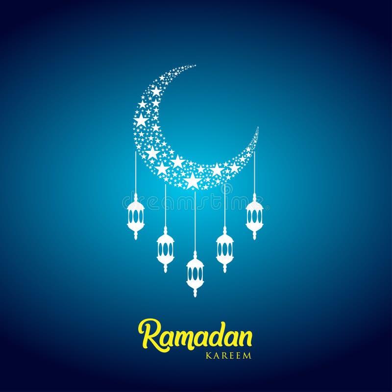 Ramadan kareem tło, ilustracja z arabskimi lampionami i półksiężyc księżyc na błękitnym tle, EPS 10 zawiera przezroczystość ilustracji