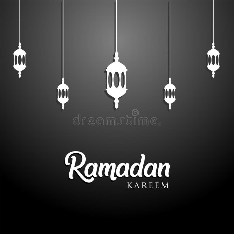 Ramadan kareem tło, ilustracja z arabskimi lampionami na czarnym tle EPS 10 zawiera przezroczystość Bezpłatna wizytówka ilustracji