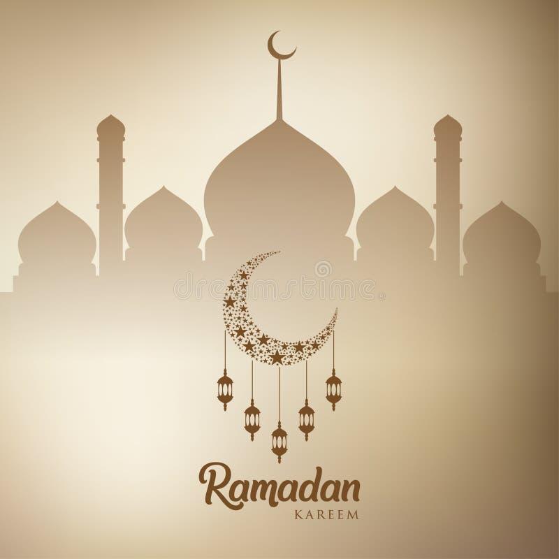 Ramadan kareem tło, ilustracja z arabskimi lampionami, półksiężyc księżyc i meczet kopuła, EPS 10 zawiera przezroczystość - wekto ilustracja wektor