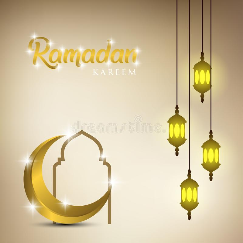 Ramadan kareem tło, ilustracja z arabskimi lampionami, złota ozdobna półksiężyc i meczet kopuła, EPS 10 zawiera przezroczystość royalty ilustracja