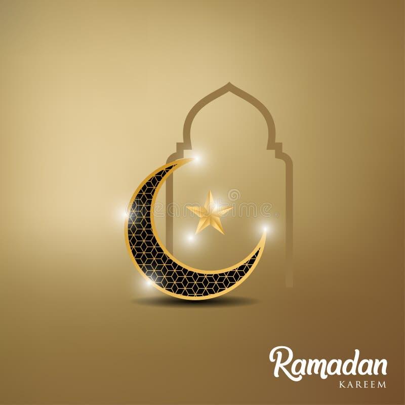 Ramadan kareem tło, ilustracja z, kopuła, złota ozdobna półksiężyc, gwiazdy i meczetu, EPS 10 zawiera przezroczystość - wektor royalty ilustracja