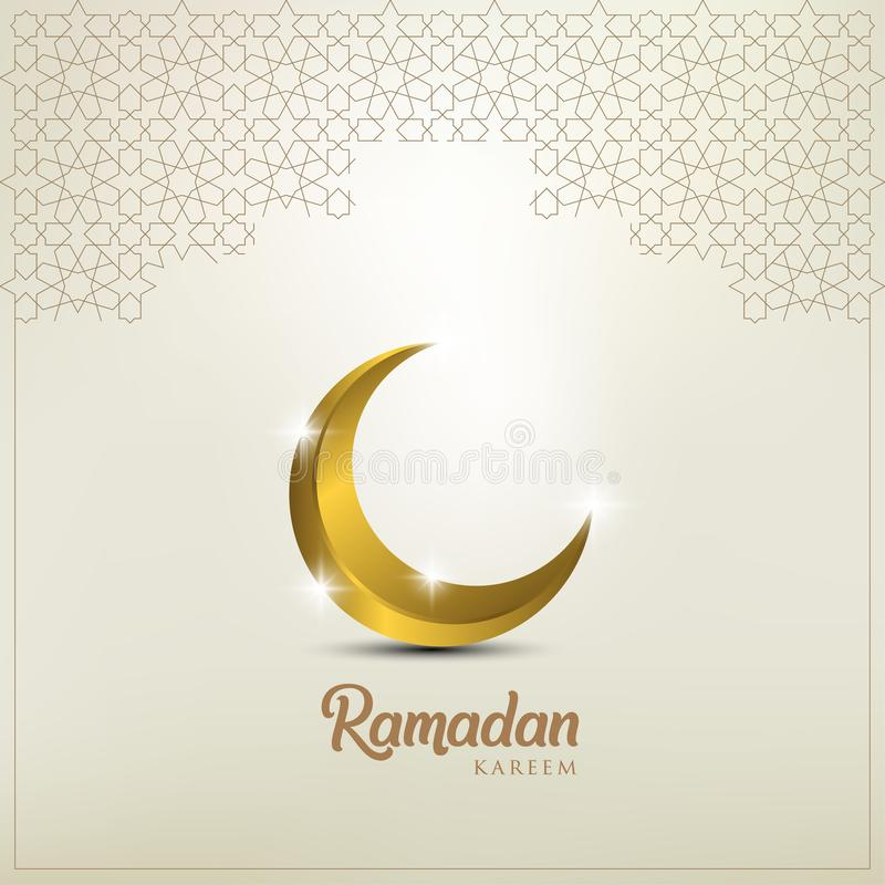 Ramadan kareem tło, ilustracja z złotą ozdobną półksiężyc EPS 10 zawiera przezroczystość - wektor royalty ilustracja