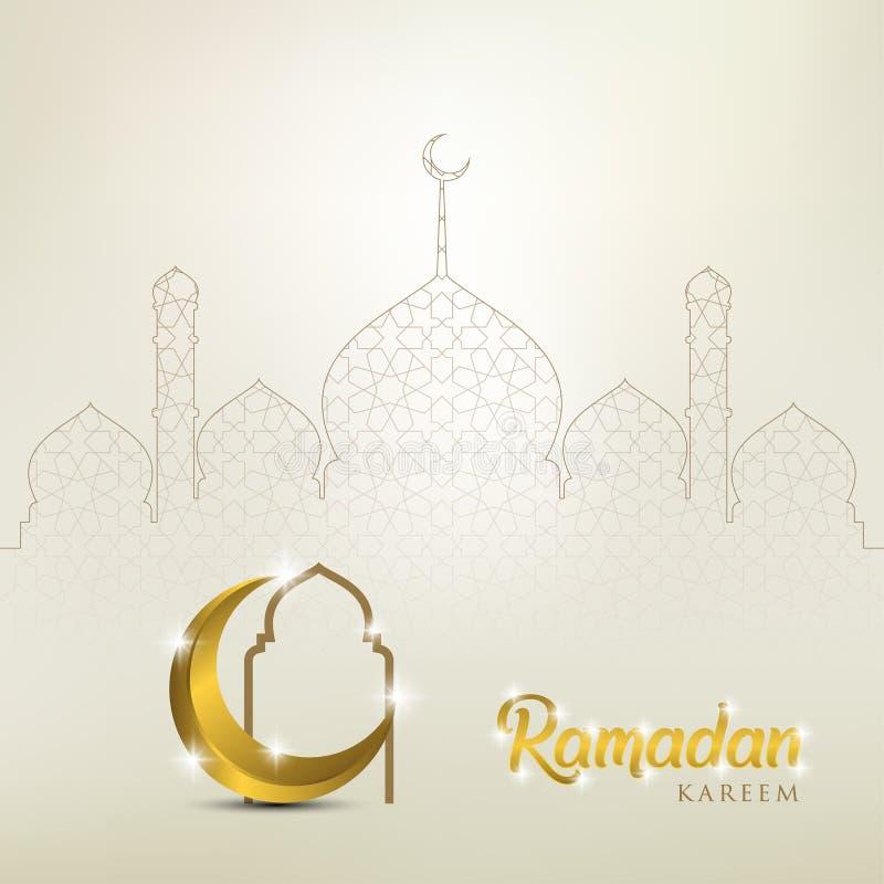 Ramadan kareem tło, ilustracja z złotą ozdobną półksiężyc i meczet kopuła, EPS 10 zawiera przezroczystość - wektor ilustracja wektor