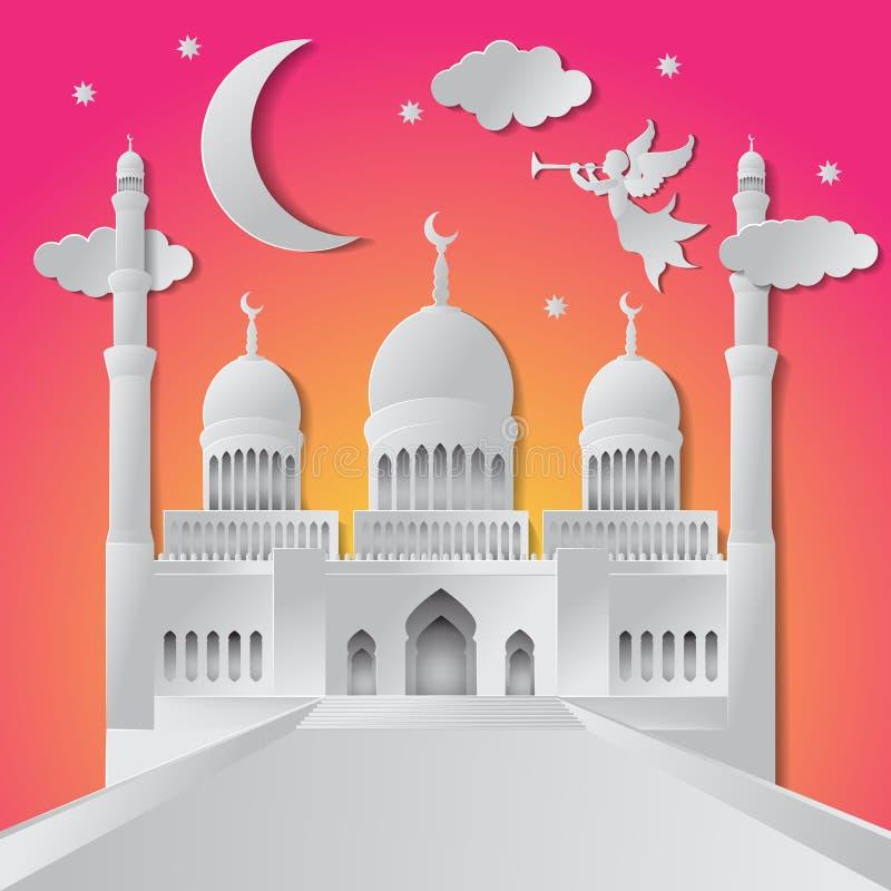 Ramadan kareem tła ilustracyjny anioł, musical trąbka, meczet, księżyc, gwiazda i chmury, papieru ci?cie r?wnie? zwr?ci? corel il ilustracji