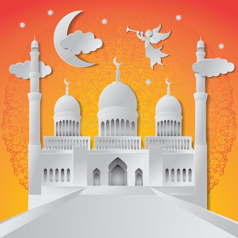 Ramadan kareem tła ilustracyjny anioł, musical trąbka, meczet, księżyc, gwiazda, mandala i chmury, papieru ci?cie wektor ilustracja wektor
