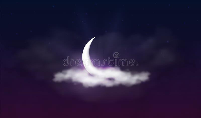 Ramadan Kareem tło Muzułmańska uczta święty miesiąc Piękna półksiężyc w chmurach z gwiazdami i światłem słonecznym ilustracja wektor