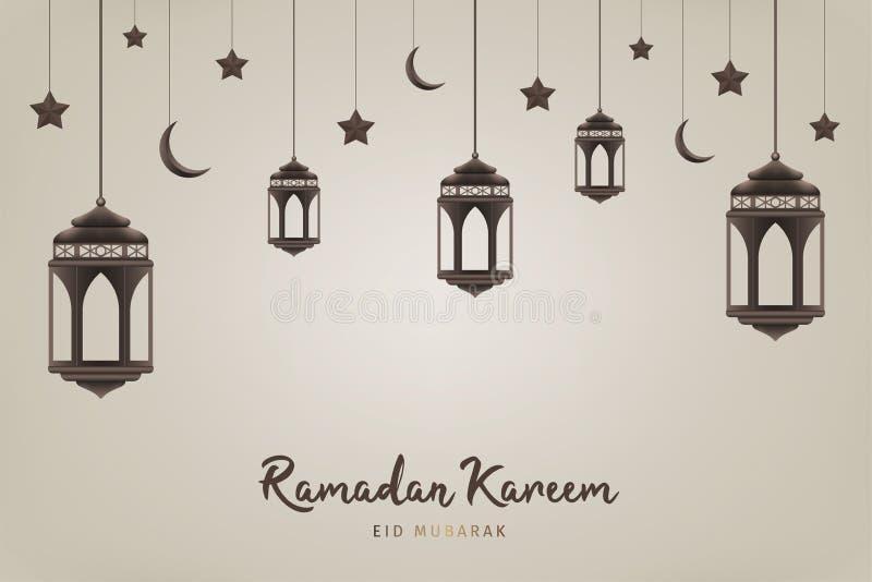 Ramadan Kareem tło Wiszący lampiony, półksiężyc i gwiazdy, Muzułmańska uczta święty miesiąc ilustracji