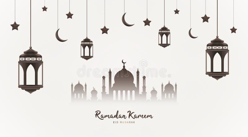 Ramadan Kareem t?o Meczetowa sylwetka z wiszącymi lampionami, półksiężyc i gwiazdami, Muzu?ma?ska uczta ?wi?ty miesi?c ilustracji