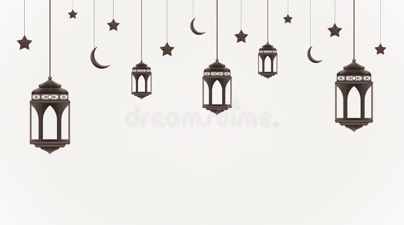 Ramadan Kareem t?o Wisz?cy lampiony, p??ksi??yc i gwiazdy, Muzu?ma?ska uczta ?wi?ty miesi?c ilustracja wektor