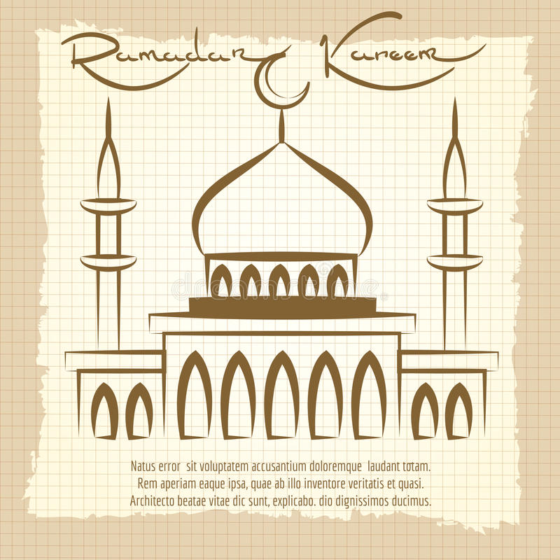 Ramadan Kareem tappningaffisch med moskén vektor illustrationer