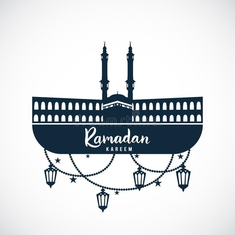 Ramadan Kareem Teken van de moskee met het hangen van lampen vector illustratie